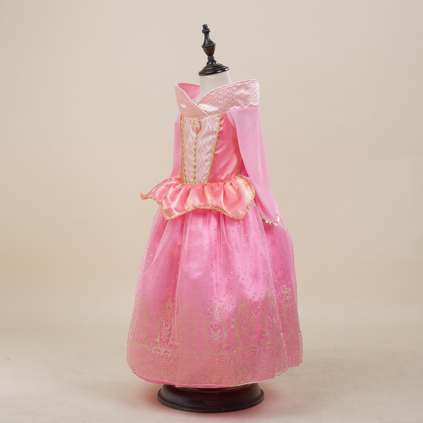 913e5f135 ᗖالفتيات فساتين الربيع 2016 الأميرة أورورا قميص طويل الأكمام الوردي ...