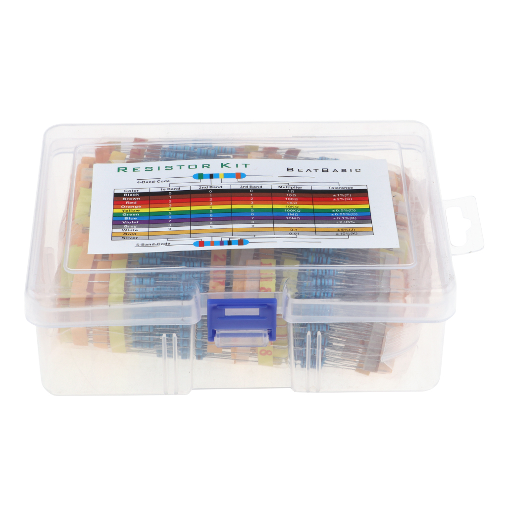 1100 Pieces 110 Values 1% Resistor Kit, 0.1 Ohm-10M Ohm 1/2W Metal Film Resistors Assortment for DIY and Experiments