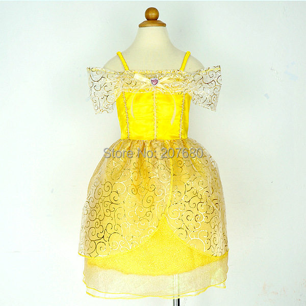 a4b8e2c122ff2 Click here!! الذهب لطيف بيل الأميرة اللباس حزب تأثيري زي ملابس تنكرية  للأطفال prom