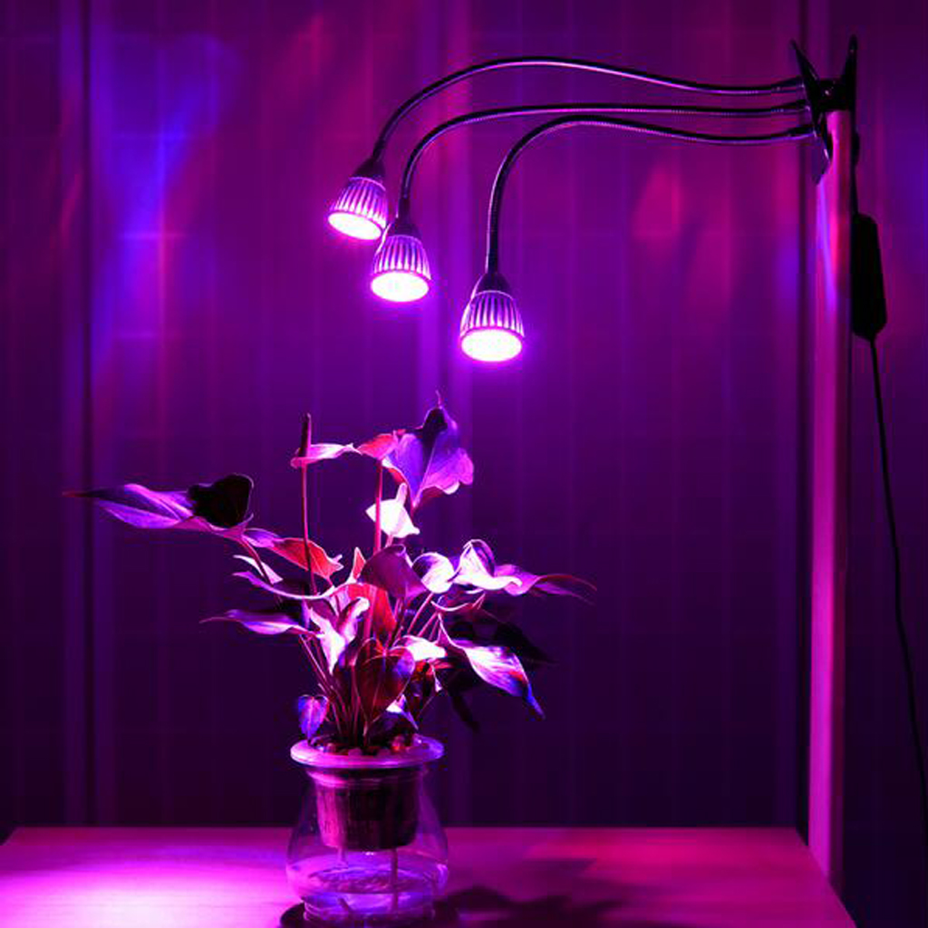 Plant Grow Light Tri Head LED Indoor Plants Lighting Panel Clip Lampholder For Greenhouse Hydroponic Garden Seedlings Flowering