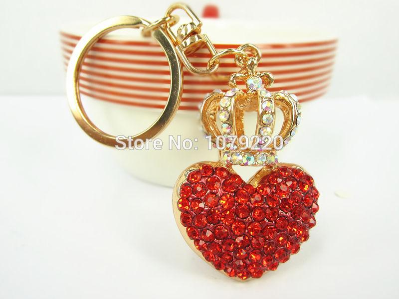 Á»™ Á»™ Couronne Rouge Coeur Porte Cles Porte Cles Strass Cristal Charme Pendentif Cle Sac Chaine Cadeau Nouvelle Mode Livraison Gratuite W857