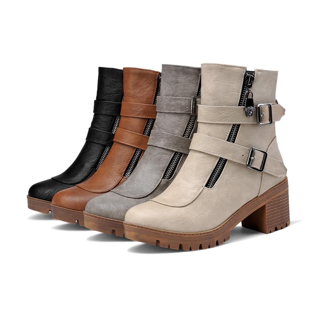 dc87ddd2e ₩جديد أزياء مزدوج مشبك النساء الأحذية جولة تو الشتاء النساء أحذية ...