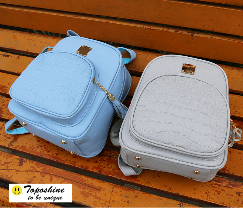 fd4482a2fa7e9 Toposhine 2018 Yeni Kore Sırt Çantaları Moda pu deri omuz çantası Timsah  Desen Küçük Sırt Çantası Kabartmalı Okul Çantaları 1560