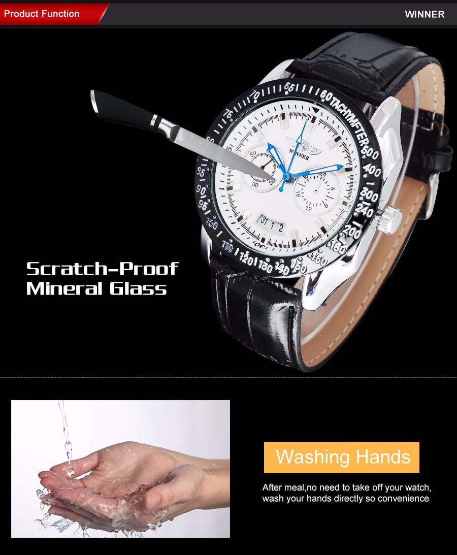 df91167184ccc الفائز أزياء العلامة التجارية الرجال الرياضة الساعات الميكانيكية الهيكل  العظمي ساعات فضة حالة جلدية الشريط الرجال التلقائي relogio masculinoالوصف 1.