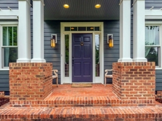 Front Door Colors For Brick Houses Top Front Door Colors Gambrick | Brick Front Step Designs | Patio | Entry | Front Entrance Front Porch Wall Tile | Raised Front | Bluestone Treads 24 Inch Rise