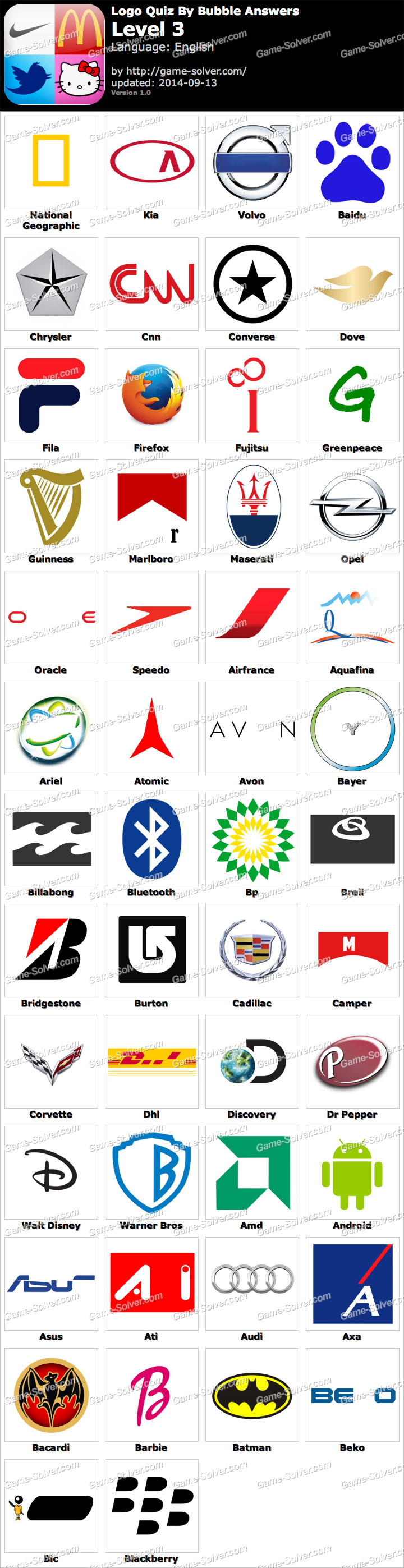 Logo Quiz By Bubble Answers Level 3 - Game Solver