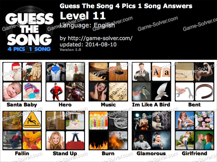 Guess The Song 4 Pics 1 Song Level 11 - Game Solver