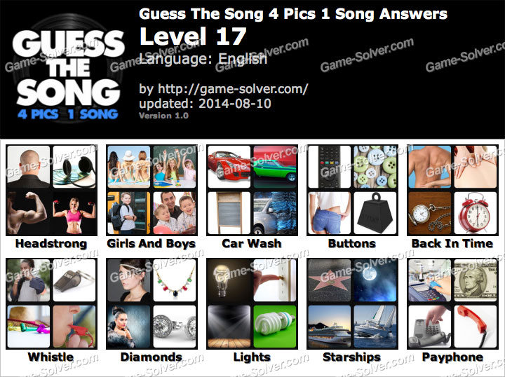 Guess The Song 4 Pics 1 Song Level 17 - Game Solver