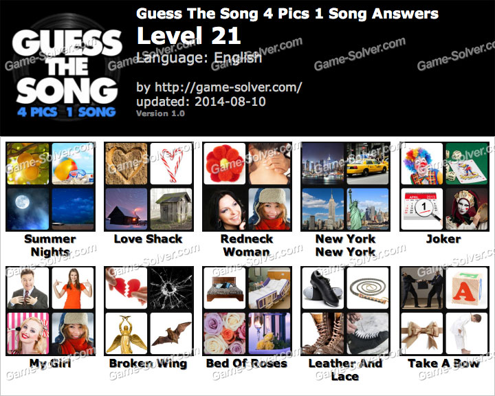 Guess The Song 4 Pics 1 Song Level 21 - Game Solver