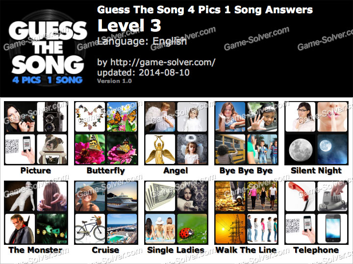 Guess The Song 4 Pics 1 Song Level 3 - Game Solver