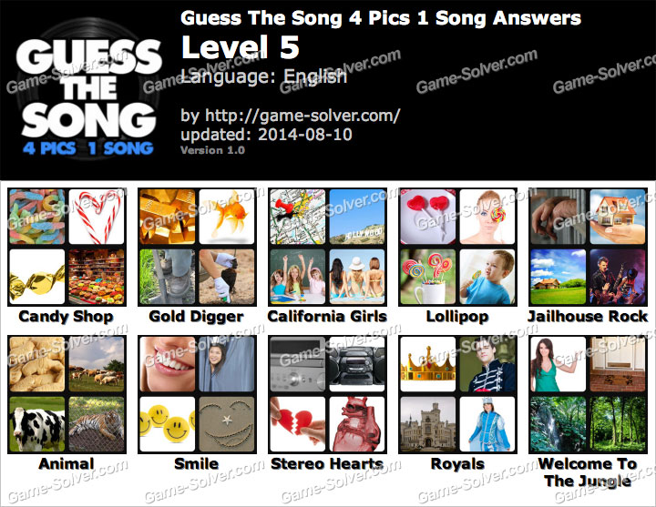 Guess The Song 4 Pics 1 Song Level 5 - Game Solver