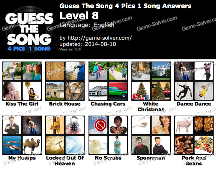 Guess The Song 4 Pics 1 Song Level 8 - Game Solver