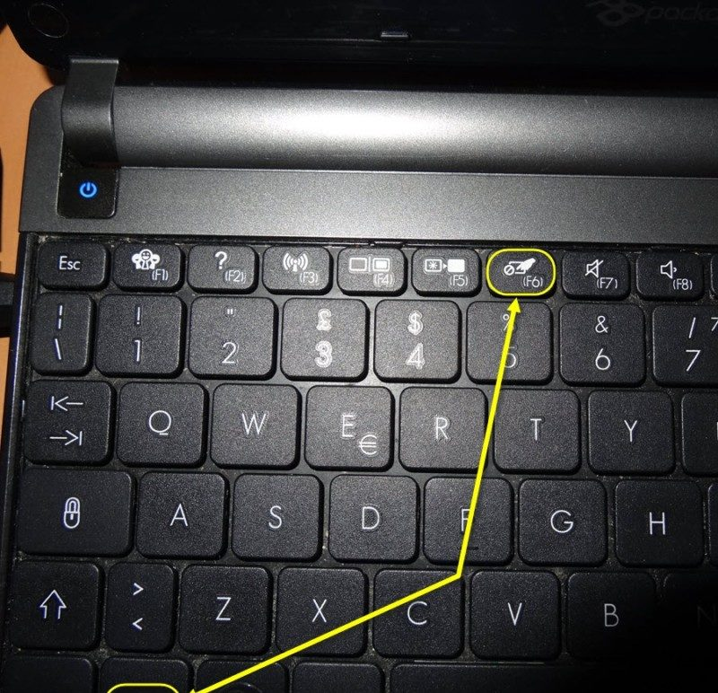 Turn off the touchpad on a laptop