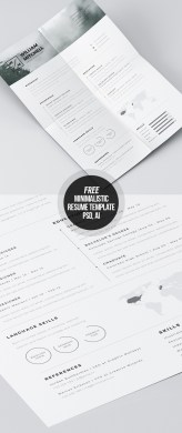 Free Minimalistic CV Resume Templates with Cover Letter Template     Free Minimalistic and Clean Resume Template for Photoshop and Illustrator