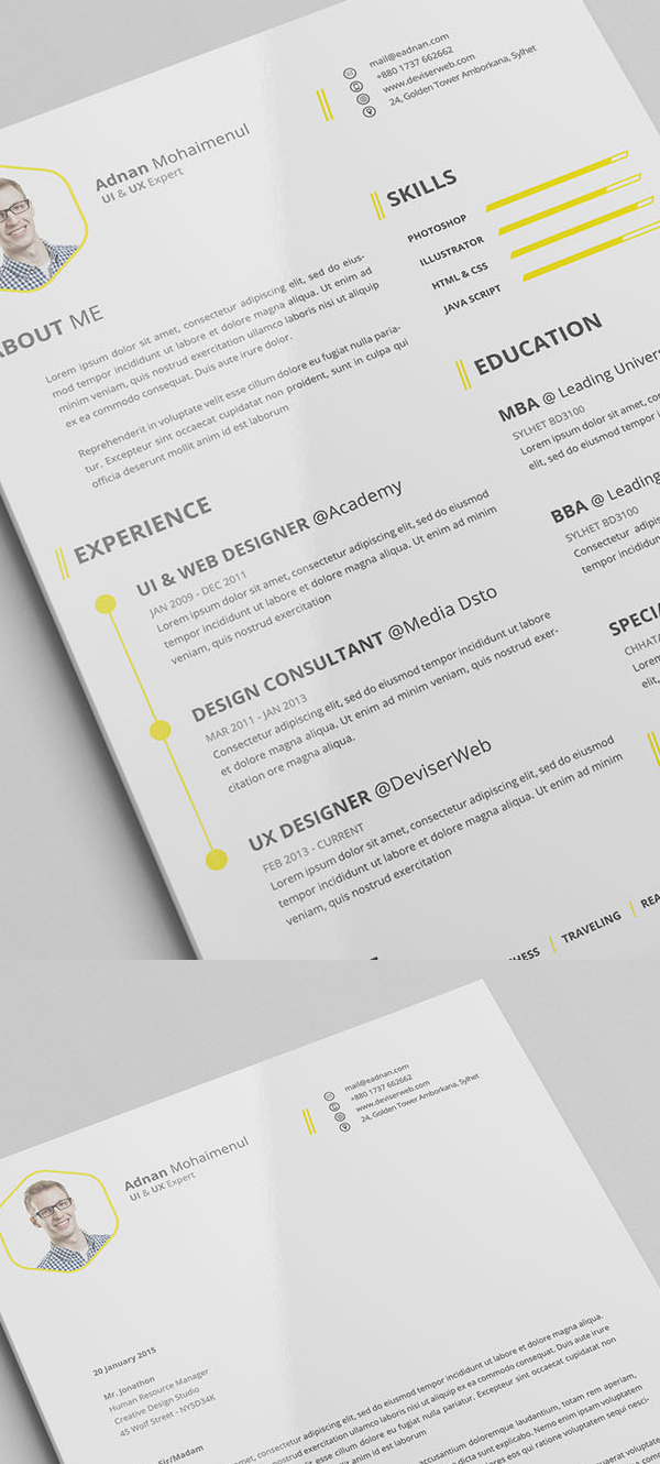 Free Minimalistic CV Resume Templates with Cover Letter Template     Free Minimalistic CV Resume Templates with Cover Letter Template   6