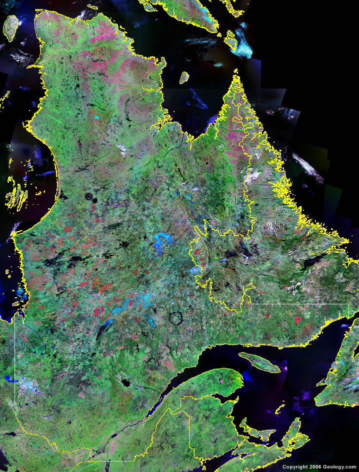 Quebec Map   Satellite Image   Roads  Lakes  Rivers  Cities Quebec Satellite Image