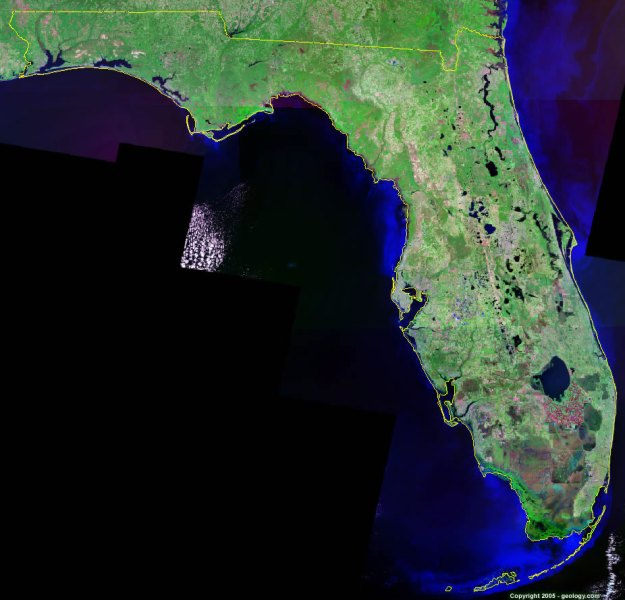 Florida Satellite Images   Landsat Color Image Florida satellite photo