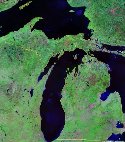Michigan Satellite Images   Landsat Color Image Michigan satellite photo