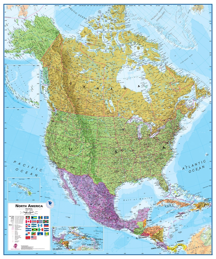 Wall Map of North America - Large Laminated Political Map