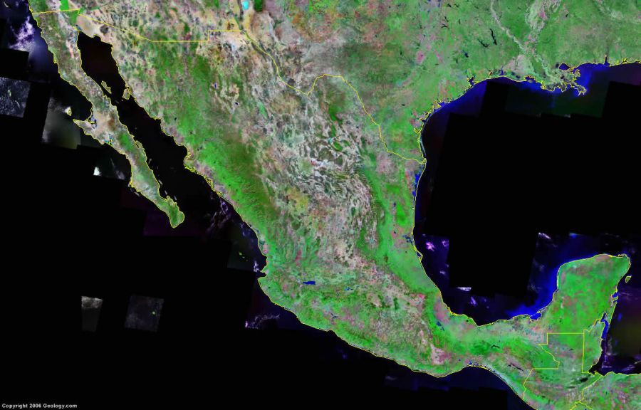 Mexico Map and Satellite Image Mexico Satellite Image