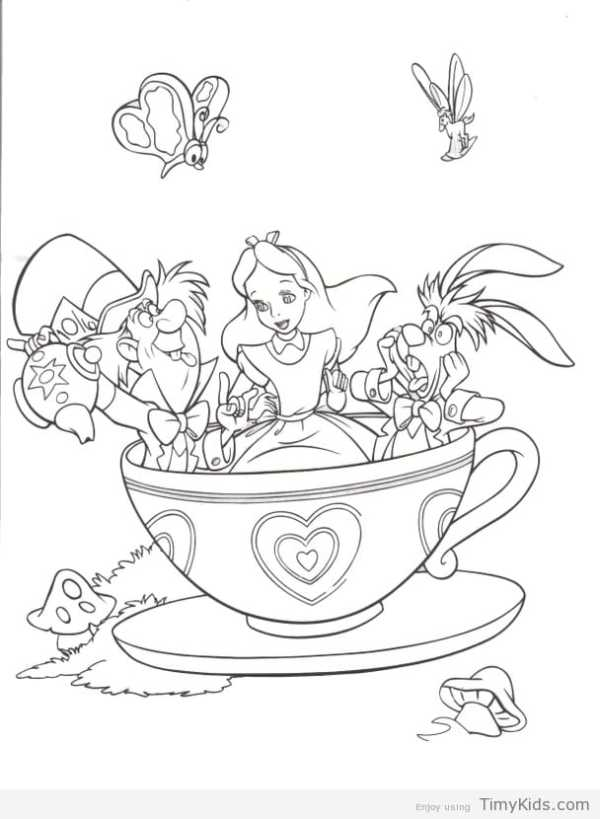 alice in wonderland coloring page # 71