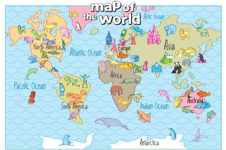 Atlantic Ocean Map For Kids Full HD MAPS Locations Another World - Printable childrens world map