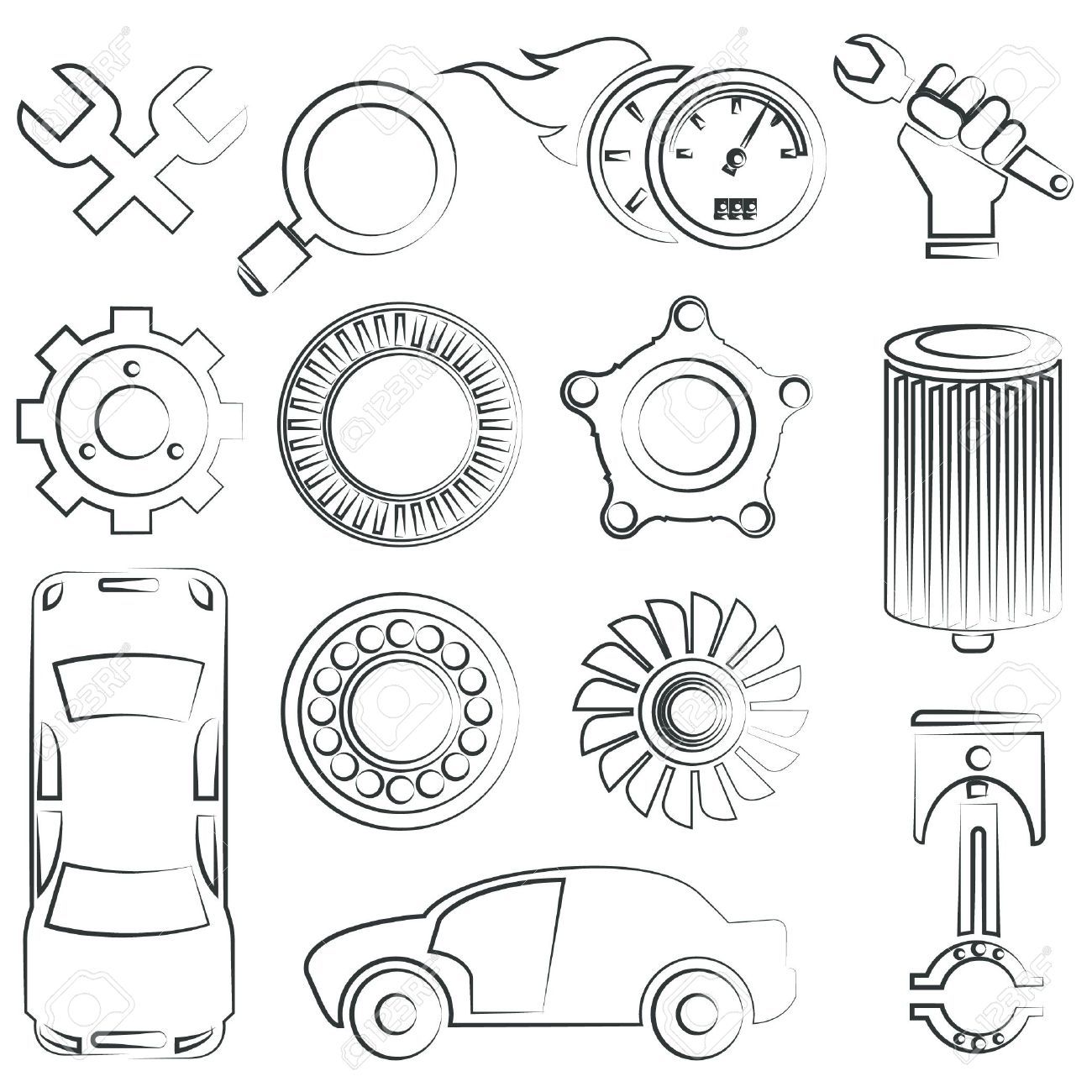 1300x1300 sketched car parts set royalty free cliparts vectors and stock