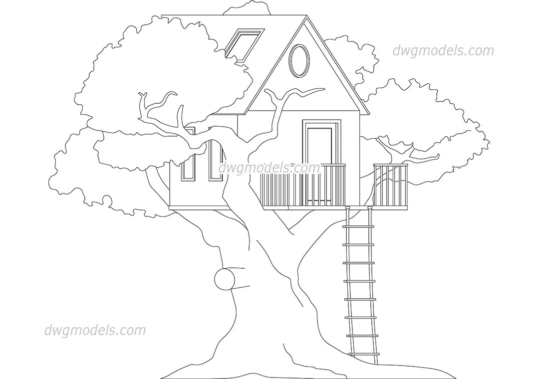 1080x760 treehouse block autocad download free cad drawing