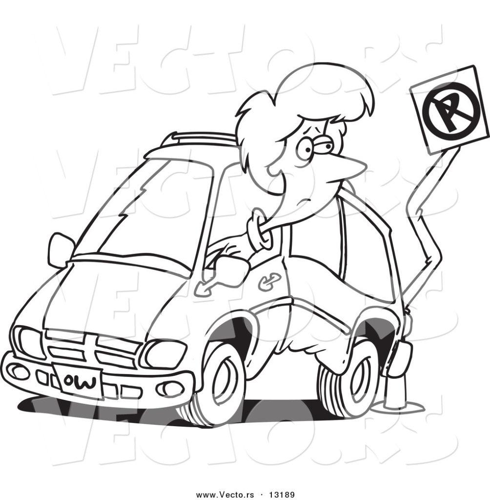 1004x1024 vector of a cartoon woman backing her minivan into a pole car