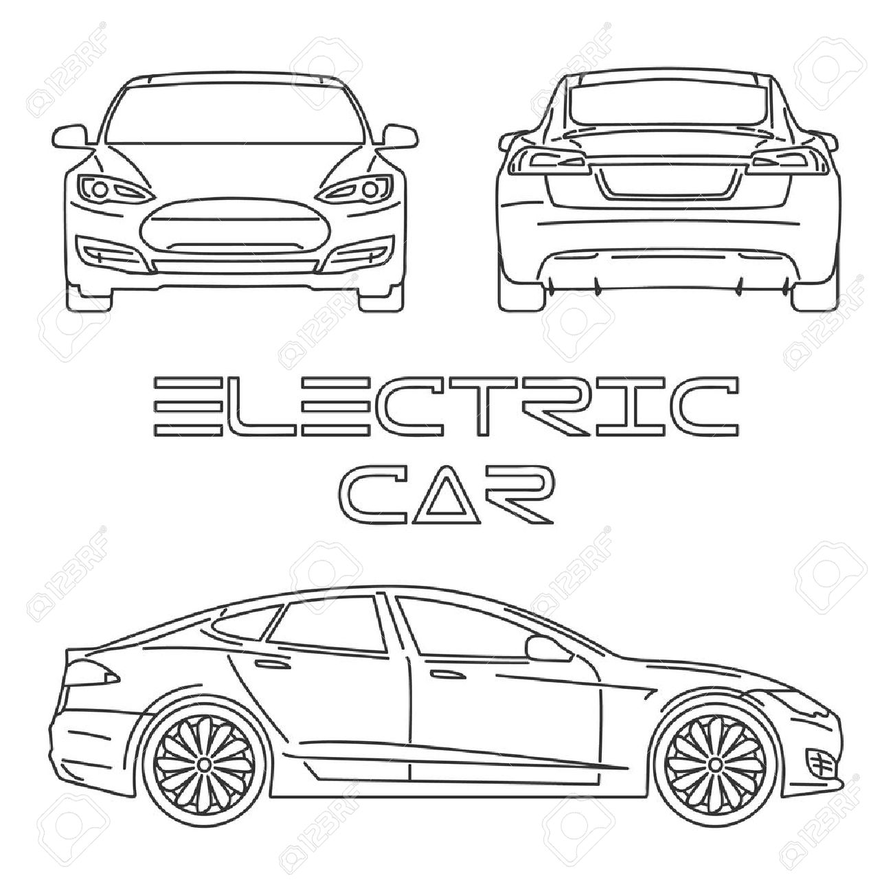 1300x1300 silhouette of electric car front view back view side view