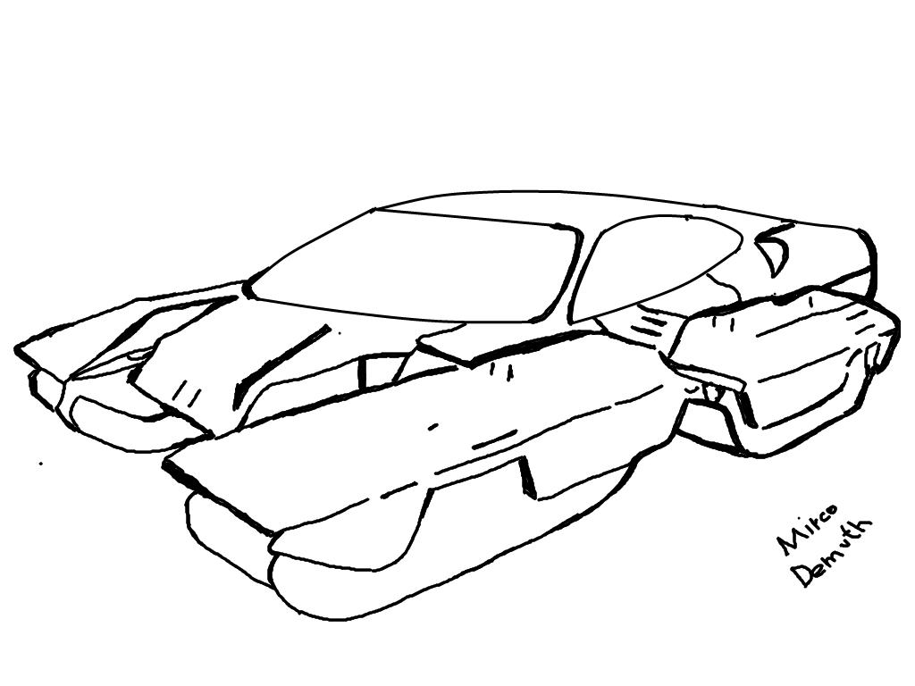 Hand drawing car crash and cars diagram