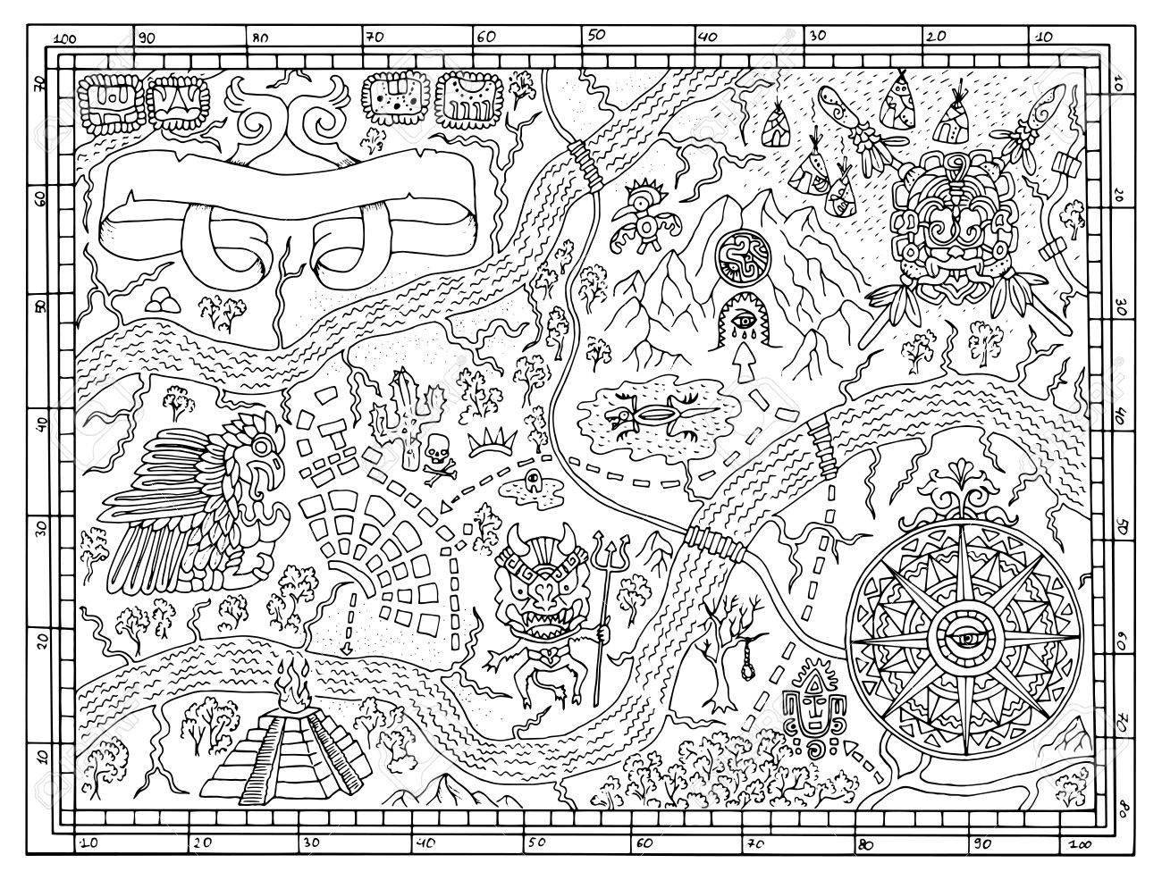 1300x985 ancient maya or pirate map for adult or kids coloring book hand
