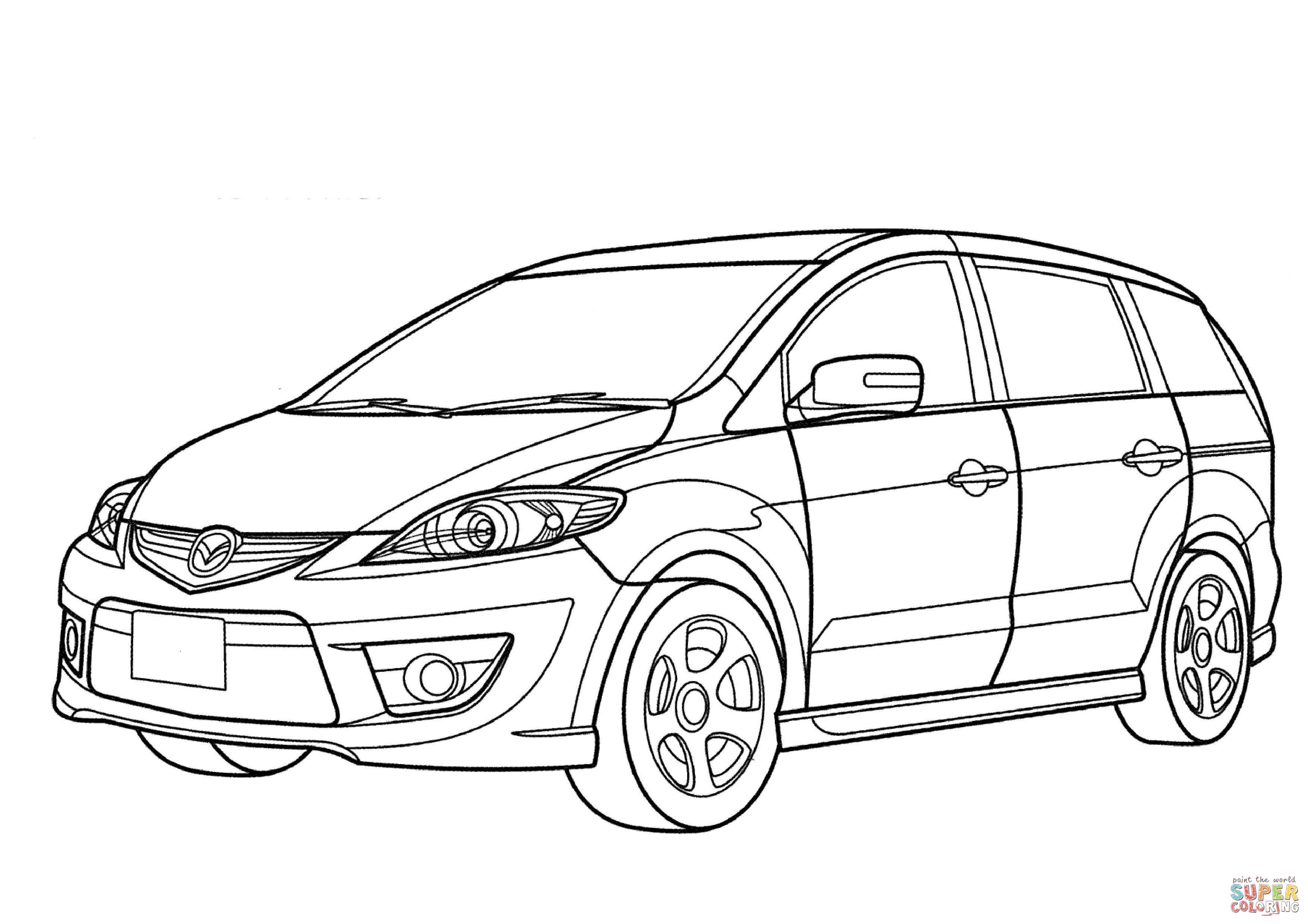 3508x2480 mazda premacy minivan coloring page free printable coloring pages