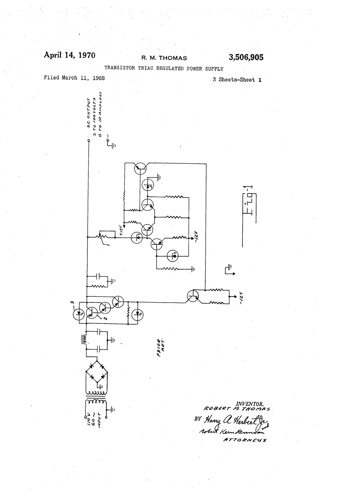 1100x1616 patent us3506905 transistor triac regulated power supply drawing