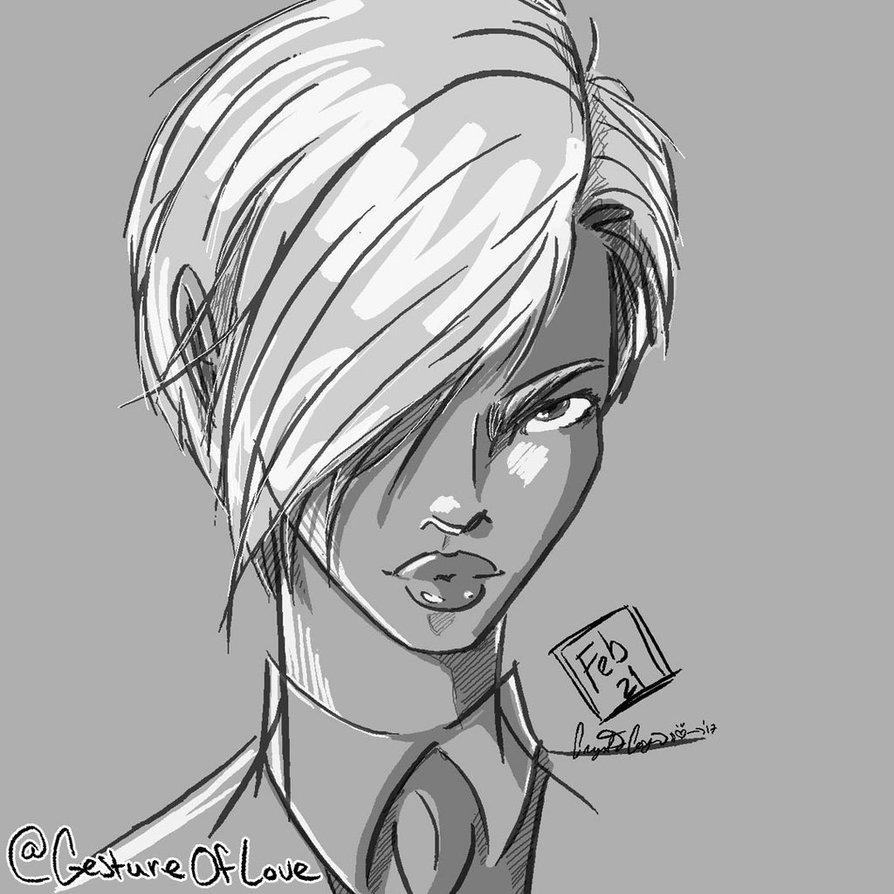 Short hair drawing