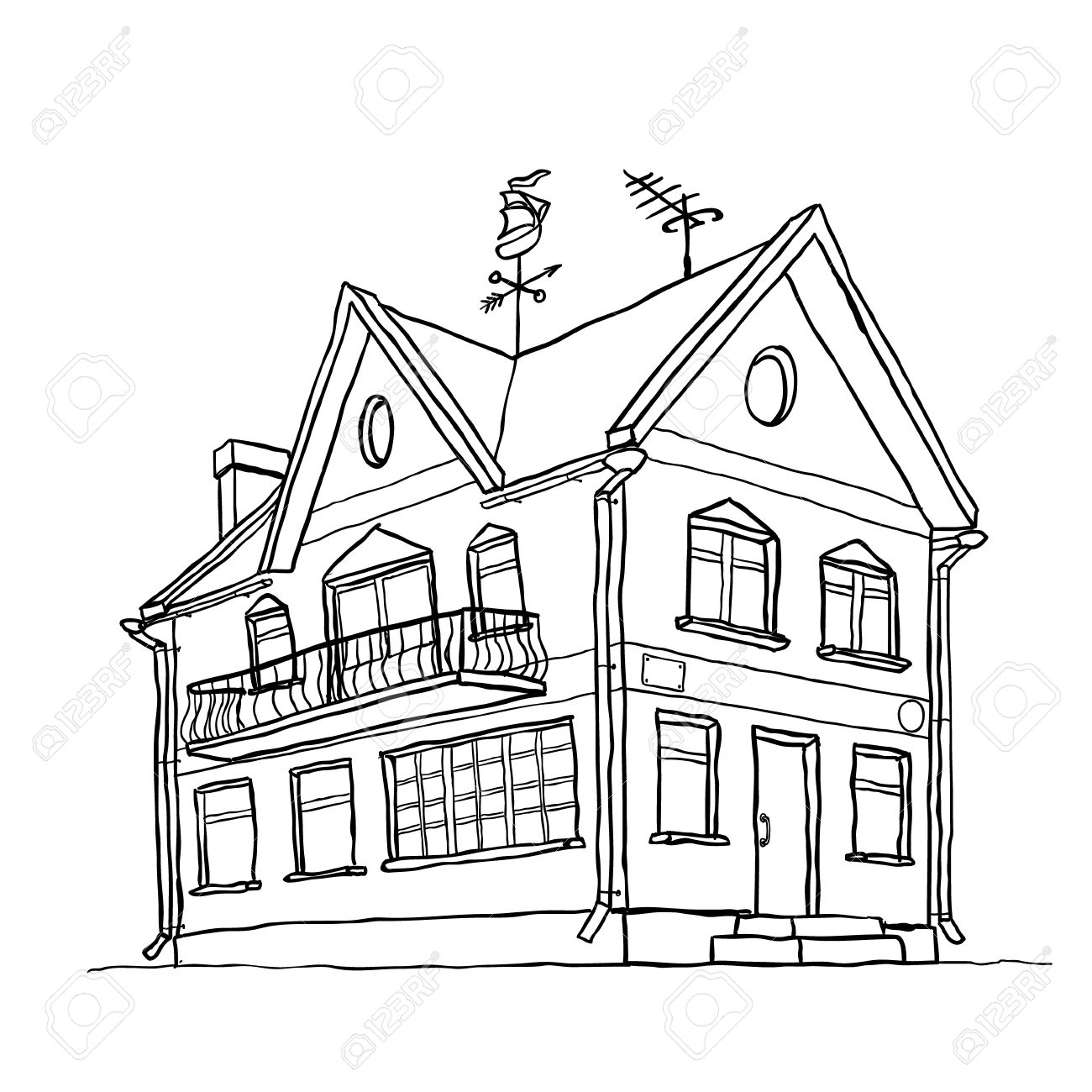 1300x1300 vector sketch of modern house royalty free cliparts vectors and