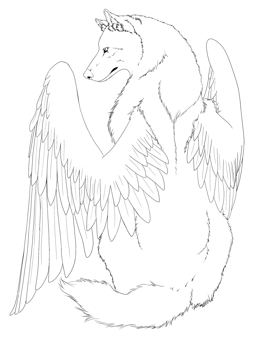 Wolf Drawing With Wings At Getdrawings Free For Personal Use