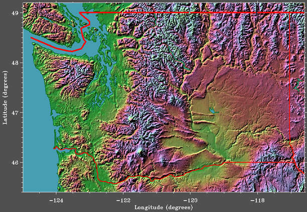 GETREAL  Washington State Satellite Image   Elevation Washington State Elevation Image