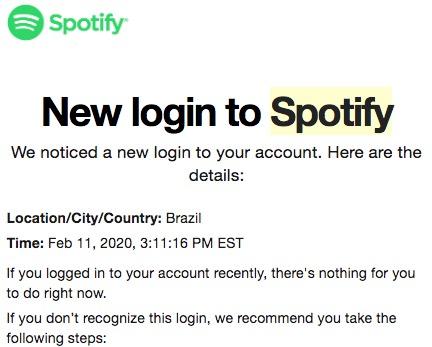 Aviso de segurança do Spotify