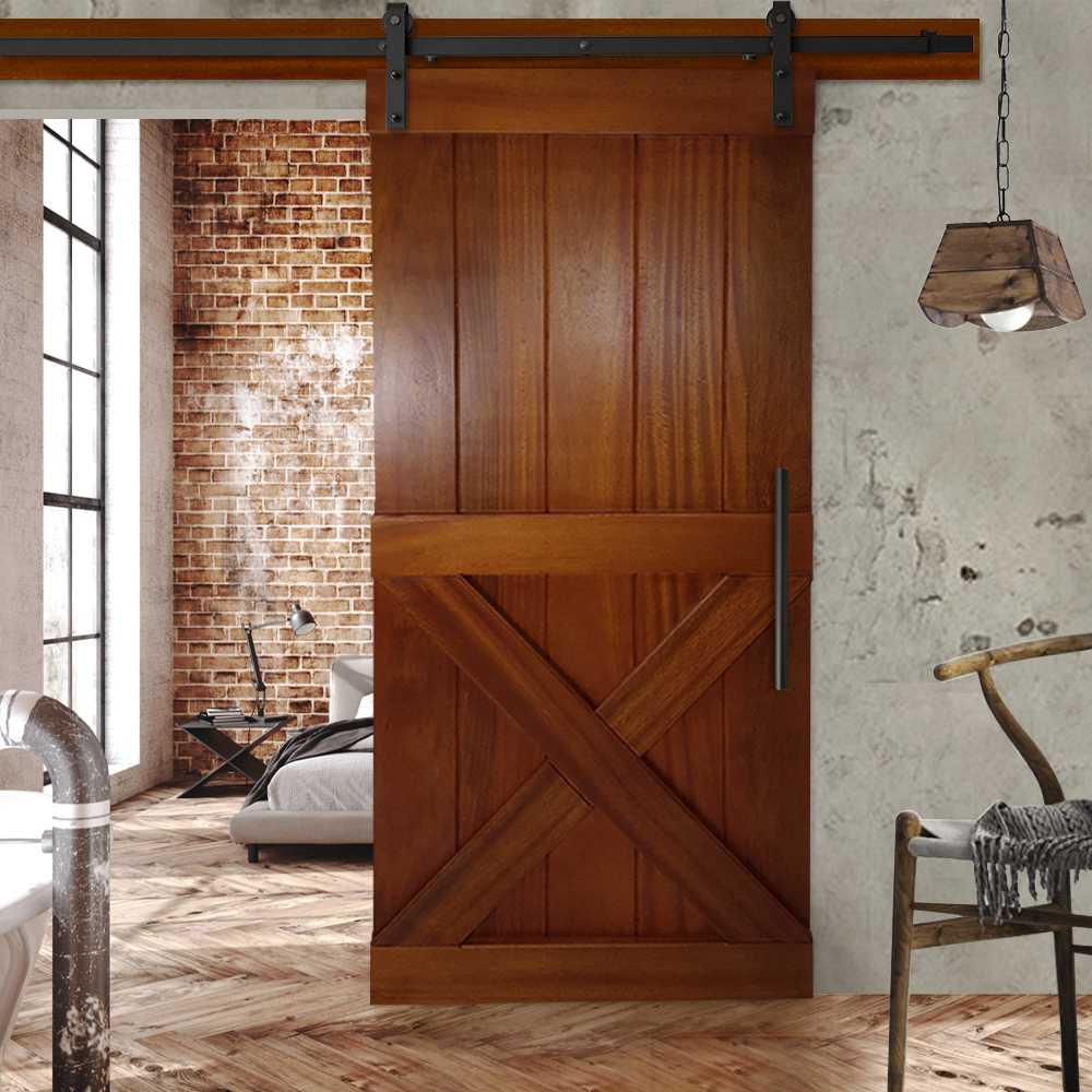 Tropical Solid Oak Half X Sliding Barn Door Wd 0007 36 X84