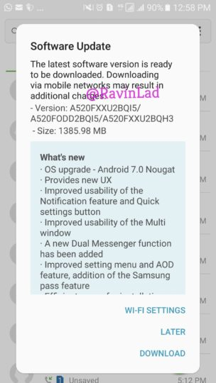 Samsung-Galaxy-A5-2017-Android-7.0-Nougat-Update-India