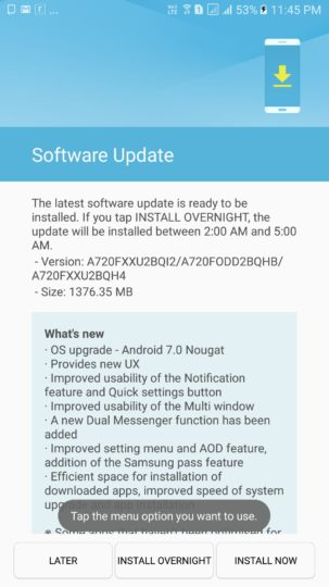 Samsung-Galaxy-A7-2017-Android-7.0-Nougat-Update-India