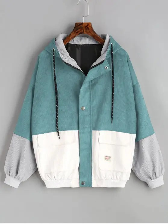 Black And White Colorblock Womens Jackets