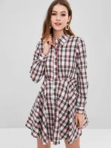 Plaid Dress   Black and White  Mini  Shirt Dress   More   ZAFUL ZAFUL Plaid Flared Shirt Dress   Multi M