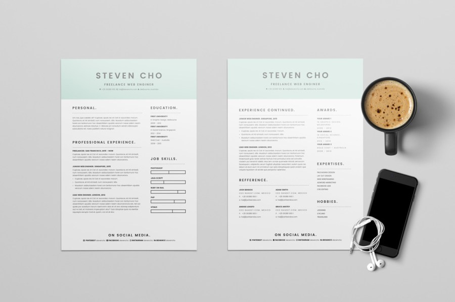 Free Minimalist Resume  CV  Design Template With Cover Letter In DOC     Free Minimalist Resume  CV  Design Template With Cover Letter In DOC    InDesign