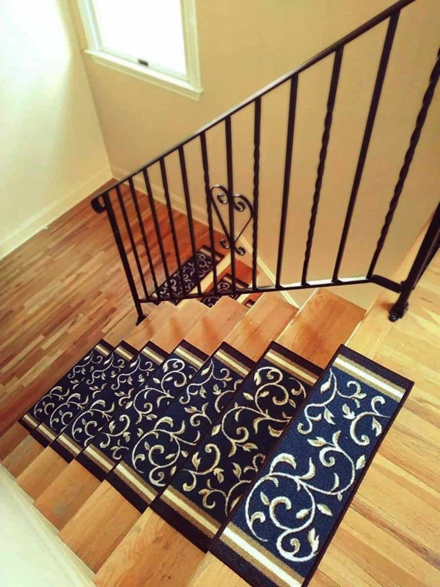 Add Different And Elegant Touch To Your House A Carpet Stair   Stair Treads With Rubber Backing   Ottomanson Softy   Removable Washable   Wood   Slip Resistant   Outdoor Stair