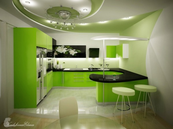 Five Fresh Kitchen With Green Design By Koshkina Elena
