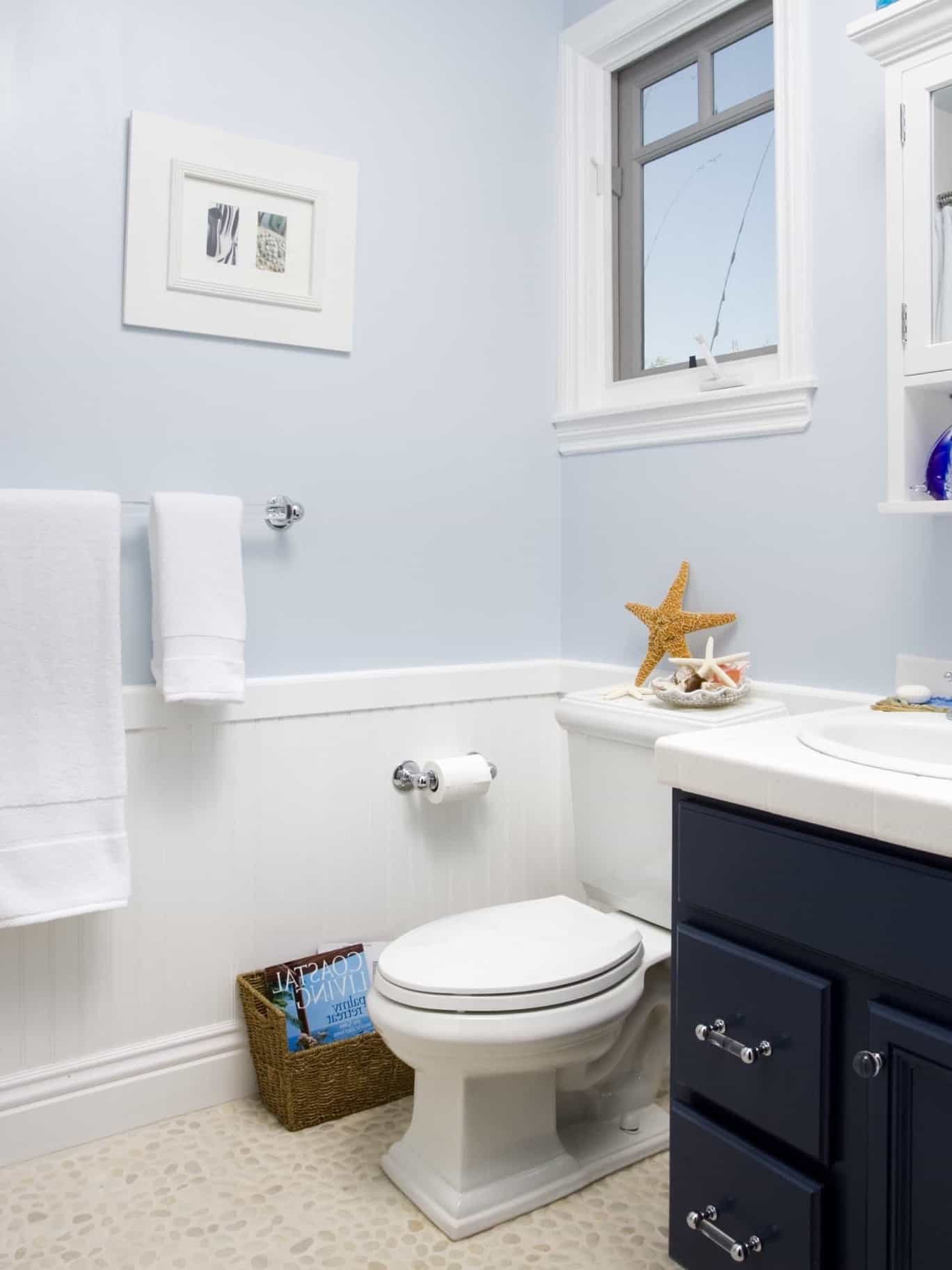 Light Blue Coastal Bathroom With Navy Vanity 50191