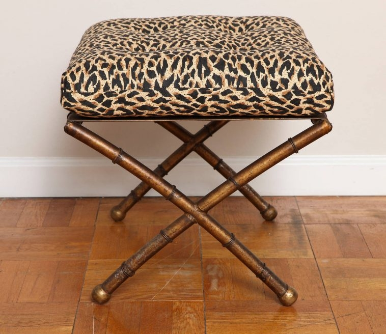 Brown Leather Ottoman Table