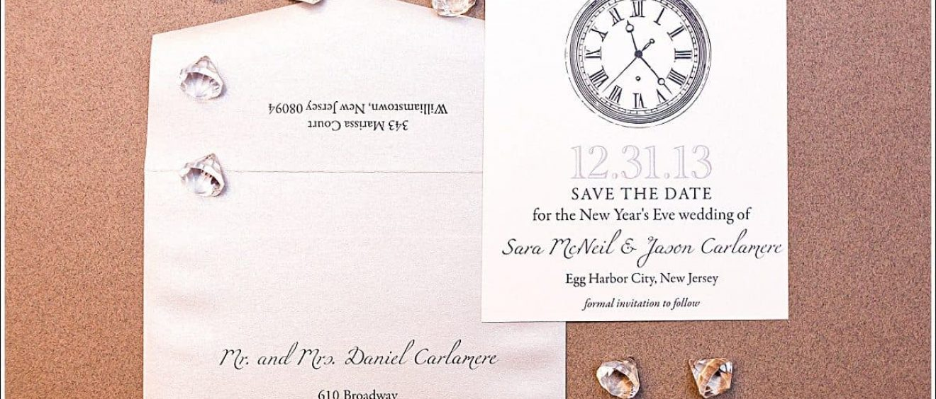 New Years Eve Wedding Save the Date   Gourmet Invitations New Years Eve Wedding Save the Date